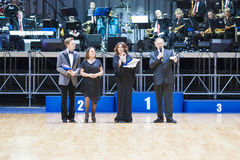 MINSK-WIT-RUSLAND, 18 MEI: de voorzitter van WDSF-federa van de danssport stock afbeeldingen