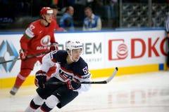 MINSK, WIT-RUSLAND - MEI 7: Johnny Gaudreau van de V.S. schaatst tijdens 2014 IIHF het Kampioenschapsgelijke van het Wereldijshoc Royalty-vrije Stock Fotografie