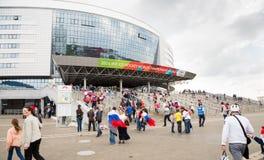 MINSK, WIT-RUSLAND - MEI 9 - Russische Ventilators voor de Arena van Minsk op 9 Mei, 2014 in Wit-Rusland Ijshockeykampioenschap h Stock Afbeelding