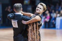 Minsk, 14 Witrussisch-Februari, 2015: Hoger Danspaar van Yaroshe Royalty-vrije Stock Afbeeldingen
