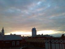 minsk Zonsondergang Sombere Hemelen Wolken Zon Hemel Royalty-vrije Stock Afbeelding