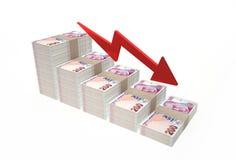 Minskande värde av den turkiska liraen på vit bakgrund Royaltyfri Fotografi
