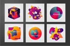 Minsta bakgrundsuppsättning Flytandeformer Abstrakta framtidsformer med vibrerande lutningar Färgvätskepartikel Arkivfoto