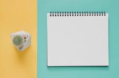 Minsta begrepp för kontorsarbetsplats Tom anteckningsbok, kaktus på skrän Royaltyfria Foton
