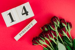 Minsta begrepp för St-valentindag på röd bakgrund Röda rosor och träcaledar med 14 februari på det Royaltyfri Bild