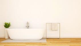 Minsta design-3D tolkning för vitt badrum Royaltyfria Bilder