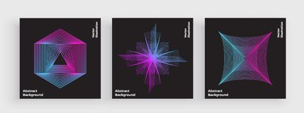 Minsta färgrik räkningsdesign, modern linje med moderiktiga lutningar Abstrakta enkla geometriska former Neon som glöder, vibrera vektor illustrationer