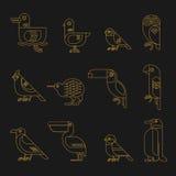 Minsta geometrisk linje fågelsymbolsuppsättning Royaltyfri Bild