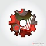 Minsta illustration för begrepp för stilaffärskugghjul Royaltyfri Bild