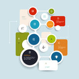 Minsta Infographics beståndsdeldesign Abstrakt begrepp cirklar och kvadrerar den infographic mallen med stället för ditt innehåll Royaltyfri Bild