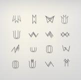Minsta plan symbolssamling Arkivfoto