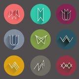 Minsta plan symbolssamling i stam- stil Fotografering för Bildbyråer