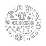 Minsta rund illustration för kloningvektor i den tunna linjen stil stock illustrationer