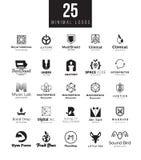 Minsta samling för logodesignmallar Stor uppsättning av svartvita symboler på olika teman Royaltyfri Bild