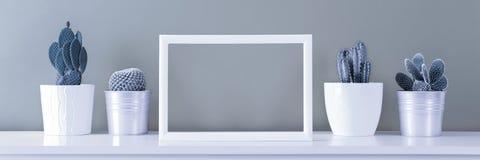 Minsta stilleben Moderiktig stil för minimalismpopkonst och färgkaktusbakgrund Samtida konst arkivfoto
