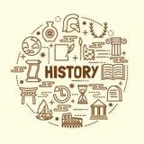 Minsta tunn linje symbolsuppsättning för historia stock illustrationer