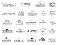 Minsta vektorlogoer för tappning med enkla former Moderna lyxiga emblem för att shoppa etiketten vektor illustrationer