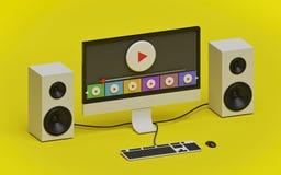 Minsta videopn strömmande begrepp framf?rande 3d royaltyfri illustrationer