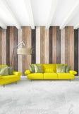 Minsta wood vägg för sovruminredesign, gul soffa och copyspace in i en tom ram framförande 3d illustration 3d Royaltyfria Foton