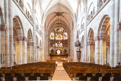 Minster in Basel, Switzerland. October 24, 2016 - Basel, Switzerland: Interior view of the Basel Minster Royalty Free Stock Photos