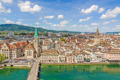 Minster Fraumunster and St. Peter church with city center of Zurich, Switzerland - aerial view Stock Images