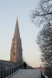 Minster of Freiburg im Breisgau. In winter, Germany, Europe royalty free stock images