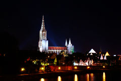 Minster of Ulm. At night with the Danube river in the foreground (South-Germany). Ulm's minster has the highest church tower in the world Stock Photography