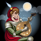 Minstrel with lute. Illustration with minstrel in armour and red coat play on lute and sing serenade to his damsel drawn in cartoon style Royalty Free Stock Photo