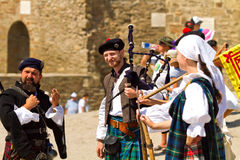 Minstrelsy on Historical Festival  in Sudak stronghold Royalty Free Stock Image