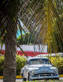 Mint american classic  car parked under palms in Cuba Royalty Free Stock Photos