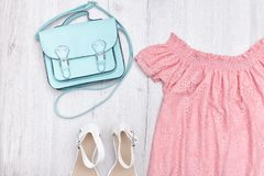 Mint bag, pink blouse and white shoes. Fashionable concept Stock Photos