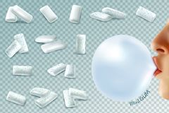 Mint Bubblegum Realistic Set. Realistic gum transparent set with mint chewing gum pieces and human lips with bubble on transparent background vector illustration Stock Image