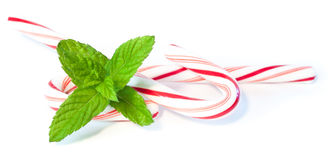 Mint and candy canes Stock Images