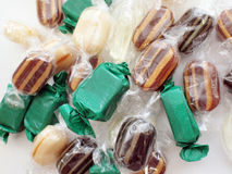 Mint Caramel Candies. Closeup of colorful mint caramel candies Stock Photography