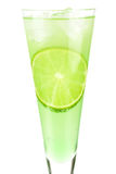 Mint Champagne alcohol cocktail with lime slice Royalty Free Stock Photos