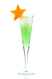 Mint Champagne alcohol cocktail with orange star Royalty Free Stock Photos