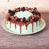 Mint and Chocolate cake. On the dark wooden table, selective focus Stock Image