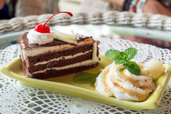 Mint and chocolate cake. Fresh mint and chocolate cake on plate, close up Stock Photos