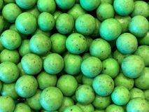 Mint chocolate candy balls close up. Green mint covered chocolate balls. Close up on candy Royalty Free Stock Photos