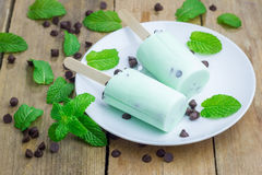 Mint and chocolate chips yogurt popsicles Royalty Free Stock Image