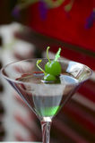Mint Chocolate Cocktail. With green cherry on sword stock photo