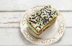 Mint and chocolate layer cake Stock Photo