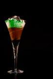 Mint-chocolate milkshake. Creative milkshake: chocolate and mint in crystal glass Stock Photo