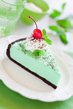 Mint chocolate tart. Slice, decorated with whipped cream, mint and cocktail cherries. Selective focus Royalty Free Stock Image