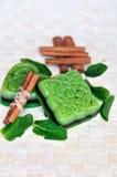 Mint and  cinnamon  handmade soap bars Stock Photos