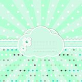 Mint cloud happy flower card with copy space Royalty Free Stock Photos