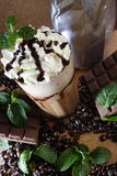 Mint and coffee bean. Chocolate mint and coffee serve cold Stock Photo