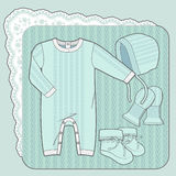 Mint color knitted collection. Knitted collection for a newborn baby vector illustration