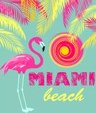 Mint color poster with Miami beach lettering, sun, pink and yellow palm leaves and flamingo. Art deco style. Mint color summery poster with Miami beach lettering vector illustration