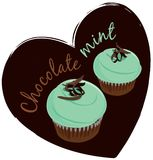 Mint cupcackes. Illustration of two mint and chocolate cupcakes Royalty Free Stock Photo